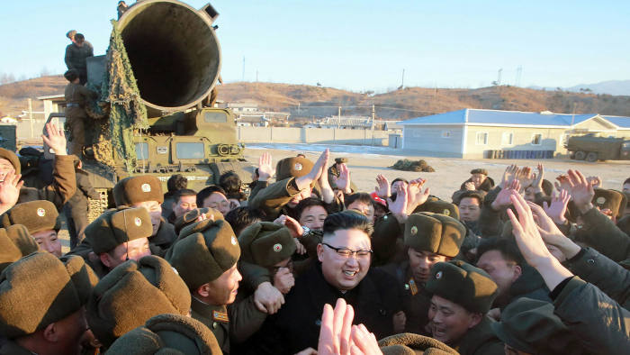 "This photo taken on February 12, 2017 and released on February 13 by North Korea's official Korean Central News Agency (KCNA) shows North Korean leader Kim Jong-Un (C) surrounded by soldiers of the Korean People's Army as he inspects the test-launch of a surface-to-surface medium long-range ballistic missile Pukguksong-2 at an undisclosed location. 		North Korea said on February 13 it had successfully tested a new ballistic missile, triggering a US-led call for an urgent UN Security Council meeting after a launch seen as a challenge to President Donald Trump. / AFP PHOTO / KCNA via KNS / STR / South Korea OUT / REPUBLIC OF KOREA OUT ---EDITORS NOTE--- RESTRICTED TO EDITORIAL USE - MANDATORY CREDIT ""AFP PHOTO/KCNA VIA KNS"" - NO MARKETING NO ADVERTISING CAMPAIGNS - DISTRIBUTED AS A SERVICE TO CLIENTS / THIS PICTURE WAS MADE AVAILABLE BY A THIRD PARTY. AFP CAN NOT INDEPENDENTLY VERIFY THE AUTHENTICITY, LOCATION, DATE AND CONTENT OF THIS IMAGE. THIS PHOTO IS DISTRIBUTED EXACTLY AS RECEIVED BY AFP. 		 / STR/AFP/Getty Images"