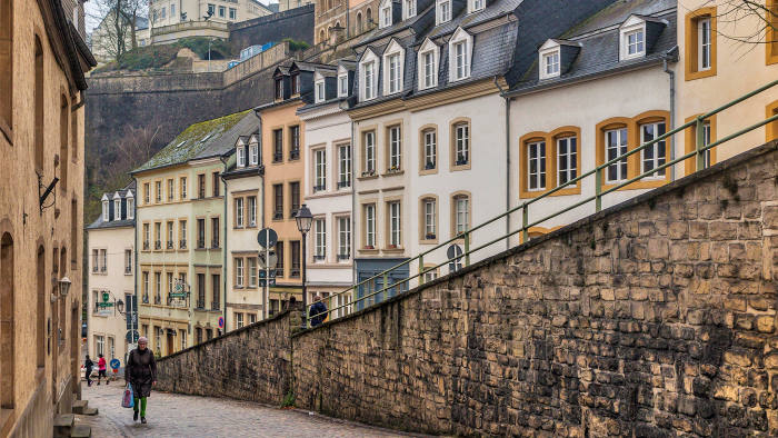 View of the old houses of the Grund from Chemin de la Corniche Luxembourg city.