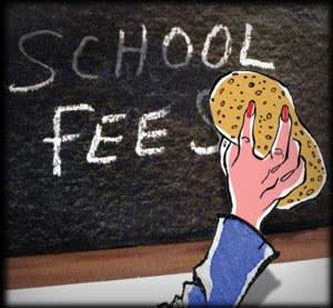 Illustration by James Ferguson of Mrs M erasing the words 'school fees' on a blackboard