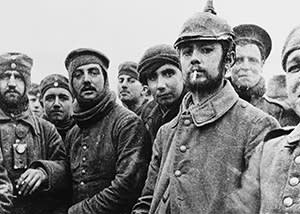 British and German soldiers together in no-man's-land on Christmas day, 1914