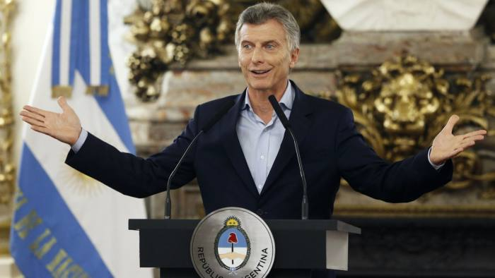 BUENOS AIRES, ARGENTINA - MARCH 06: President of Argentina Mauricio Macri gestures during a press conference to announce the opening of biddings for commercial air transport allowing low cost airlines to work in Argentina for the first time at Casa Rosada on March 06, 2017 in Buenos Aires, Argentina. (Photo by Gabriel Rossi/LatinContent/Getty Images)