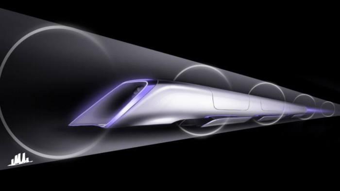 Hyperloop passenger transport capsule conceptual design rendering