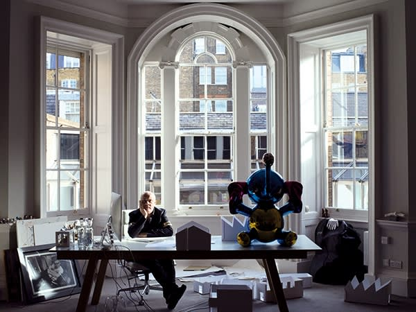 Damien Hirst photographed for the FT in his office in Welbeck Street