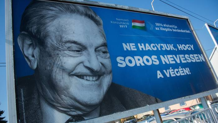 A poster with US billionaire George Soros is pictured on July 6, 2017 in Szekesfehervar, Hungary. The Hungarian government announced on July 12, 2017 that it would end its billboard campaign targeting the US billionaire George Soros which is considered by Jewish organizations as likely to fuel anti-Semitic sentiments. / AFP PHOTO / ATTILA KISBENEDEK (Photo credit should read ATTILA KISBENEDEK/AFP/Getty Images)