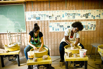 Former students Jayla Patton (left) and Latrice McGinnis, who still return to the centre to do pottery