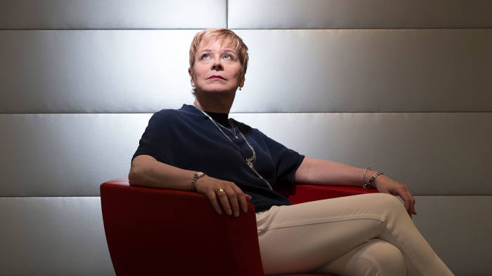 Linda Jackson, CEO of Citroen photographed at their headquarters in Paris. Portrait by Magali Delporte for the Financial Times