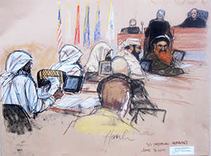 The five accused 9/11 conspirators attend a pre-trial hearing in Guantánamo Bay naval base, June 16 2014