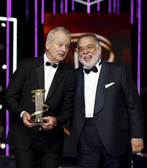 Bill Murray receives a lifetime achievement award from Francis Ford Coppola