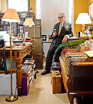 David Tang in the office/study of his Chelsea home