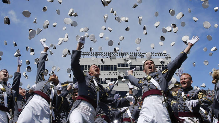 WEST POINT, NY - MAY 27: West Point graduates toss their hats in the air at the conclusion of the U.S. Military Academy Class of 2017 graduation ceremony at Michie Stadium on May 27, 2017 in West Point, New York. U.S. Defense Secretary Jim Mattis addressed the 950 graduating cadets during the ceremony. (Photo by Eduardo Munoz Alvarez/Getty Images)