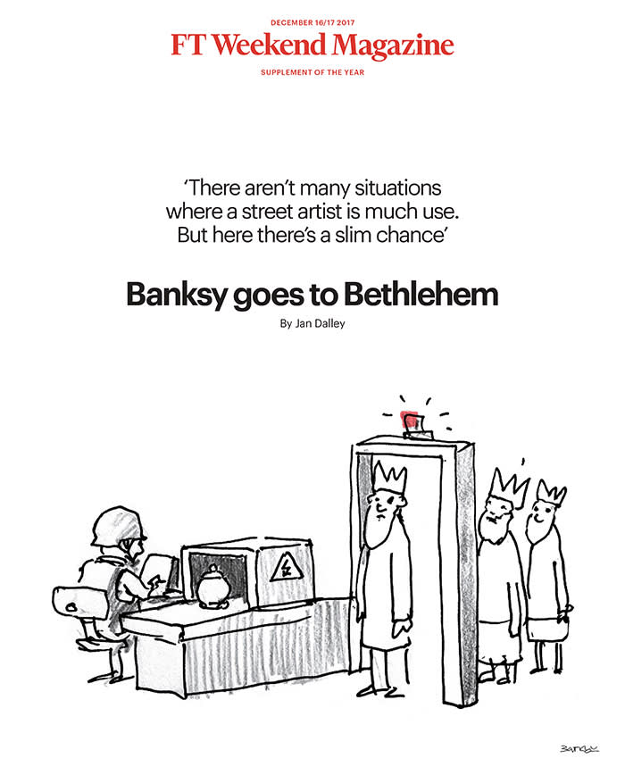 This week's issue of the FT Weekend Magazine, with a cover illustration specially created by Banksy