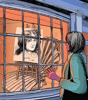An illustration of Caroline Daniel looking at a portrait of a woman in the window of a charity shop