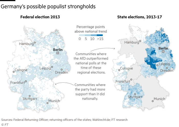 Germany's possible populist strongholds