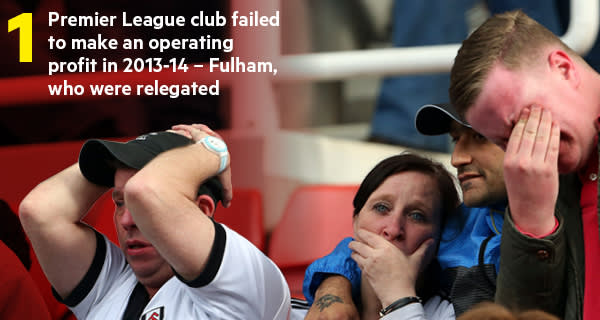 Fulham fans after their team was relegated from the Premier League in 2014. They were the only club not to make an operating profit, according to Deloitte's study of football finances