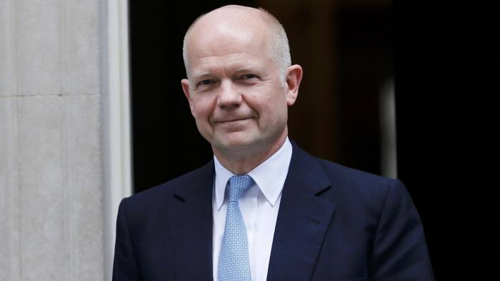 Britain's outgoing Foreign Secretary William Hague leaves 10 Downing Street in central London, July 15, 2015. Hague announced his resignation yesterday night as part of British Prime Minister David Cameron's biggest reshuffe of top goverment jobs ahead of next year's general election. REUTERS/Suzanne Plunkett (BRITAIN - Tags: POLITICS)