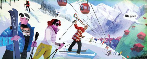 Illustration of high-end ski resorts