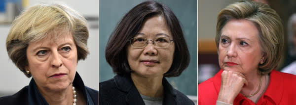 British PM Theresa May, Taiwan's first female president Tsai Ing-wen and US presidential candidate Hillary Clinton