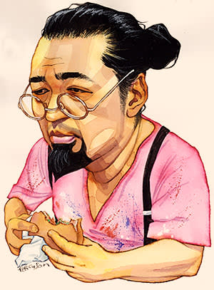 Illustration by James Ferguson of Lunch with the FT interviewee Takashi Murakami