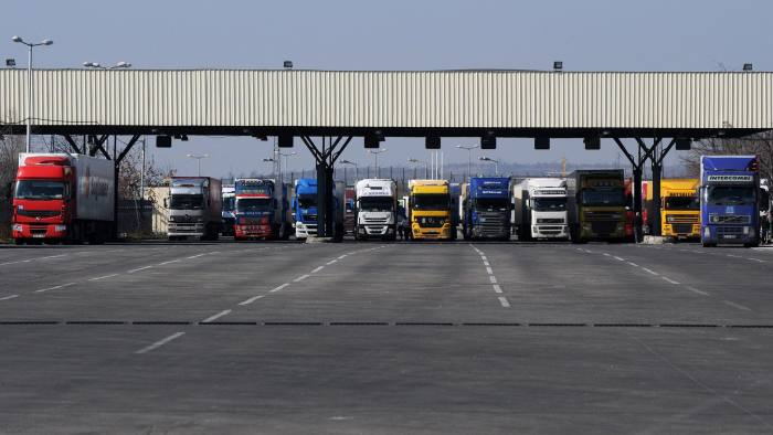 Trucks are seen at the Kapitan Andreevo border crossing point between Bulgaria and Turkey on February 11, 2011. Bulgaria and Romania must take as much time as they need in order to get one hundred percent ready for joining the Schengen Area, which will probably not be just a few months, according to the French EU affairs minister. AFP PHOTO / DIMITAR DILKOFF (Photo credit should read DIMITAR DILKOFF/AFP/Getty Images)
