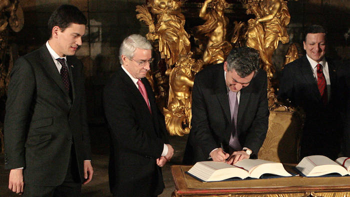 Prime minister Gordon Brown signed the Lisbon Treaty at the Coche museum on December 13, 2007