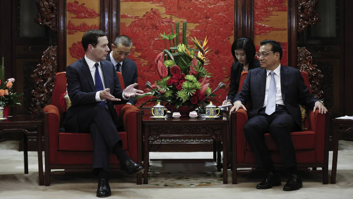 BEIJING, CHINA - SEPTEMBER 21: Chinese Premier Li Keqiang (R) meets with British Chancellor of the Exchequer George Osborne at the Zhongnanhai Leadership Compound on September 21, 2015 in Beijing, China. The Chancellor of the Exchequer is on a five-day visit to China. (Photo by Lintao Zhang/Pool/Getty Images)
