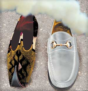 Illustration by James Ferguson of a Gucci loafer and a Turkish shoe