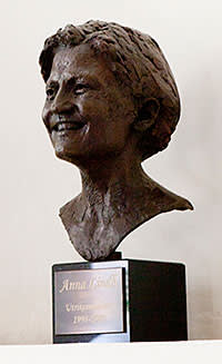A bust of the former Swedish minister for foreign affairs, Anna Lindh, who was assassinated in 2003