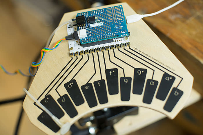 A musical device that uses Bare Conductive's conductive paint