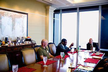 Bill Strickland at a UPMC breakfast meeting