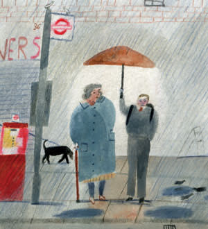 An illustration of a young boy holding up an umbrella for an older lady on an alley