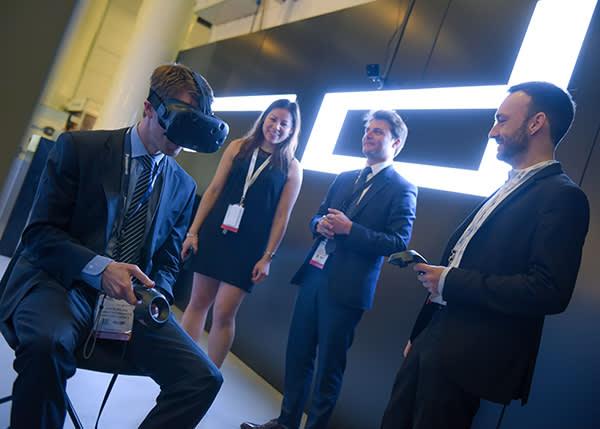 Virtual reality goggles are tested at Hamburg's Aircraft Interiors Expo