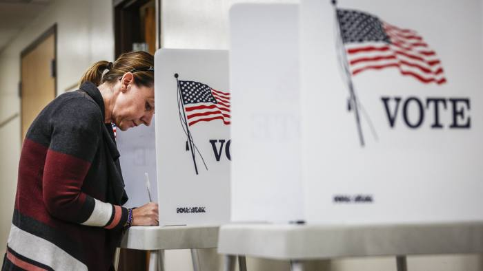 GOLDEN, CO - NOVEMBER 08: Kerry Hinton, 43, of Lakewood, Colorado fills out her ballot at the Jefferson County Fairgrounds on November 8, 2016 in Golden, Colorado. Voters go to the polls today to choose between Democrat HIllary Clinton and Republican Donald Trump for president. (Photo by Marc Piscotty/Getty Images)