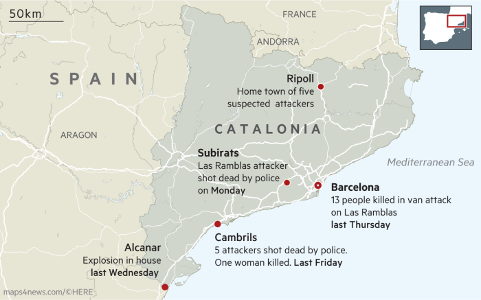 Catalan Map Of Spain.Barcelona Attacker Shot Dead By Catalan Police Financial Times