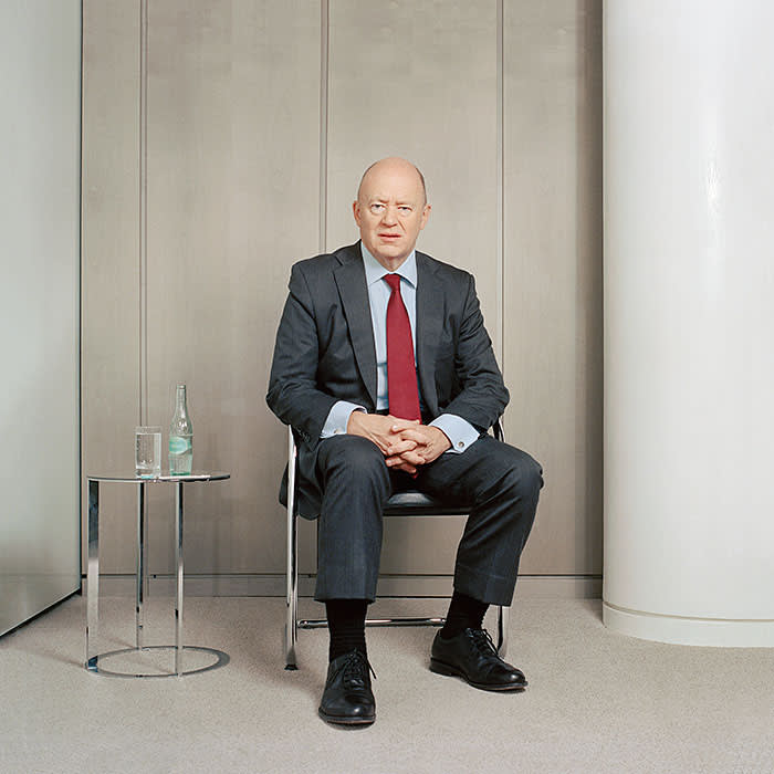 John Cryan photographed for the FT at Deutsche Bank headquarters in Frankfurt in October 2017