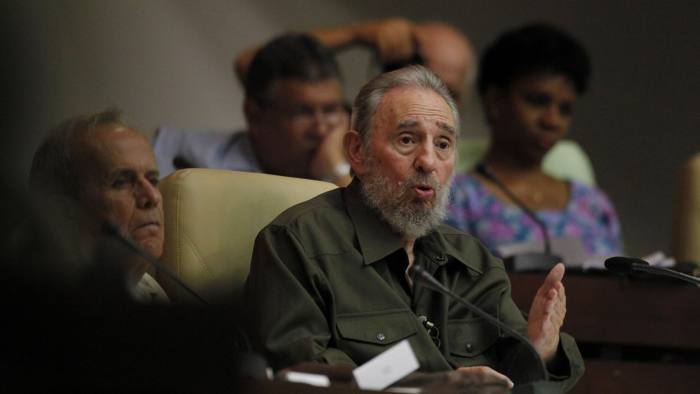 Fidel Castro, Ricardo Alarcon...Fidel Castro speaks during a special session of parliament in his first official government appearance in front of lawmakers in four years in Havana, Cuba, Saturday Aug. 7, 2010. Castro, who turns 84 on Aug. 13, is making near daily appearances in and around Havana after spending four years almost completely out of the public eye following emergency intestinal surgery that forced him to cede power to his younger brother Raul. At left is Ricardo Alarcon, president of parliament. (AP Photo/Javier Galeano)