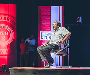 Nilekani fields questions during a televised forum in Bangalore, where a suggestion that he would make a better prime minister than Rahul Gandhi