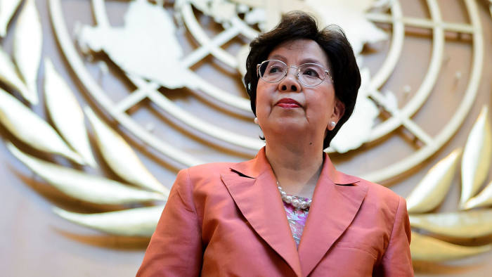 World Health Organization (WHO) Director-General Margaret Chan leaves after delivering a speech during the World Health Assembly, with some 3,000 delegates from its 194 member states on May 23, 2016 in Geneva