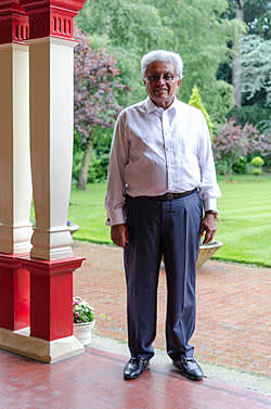 Lord Bhattacharyya at his home, a former training centre in Birmingham