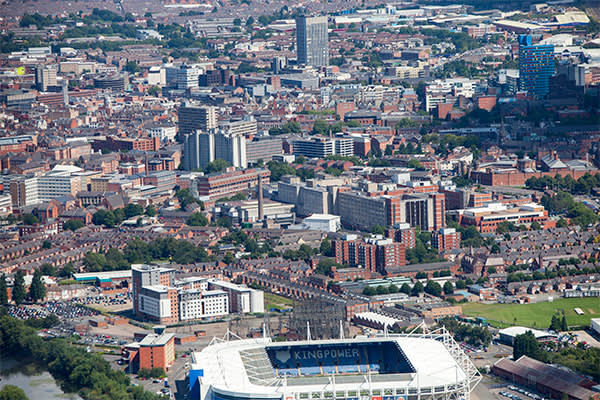 The city stretches out behind the King Power Stadium, photographed in 2012