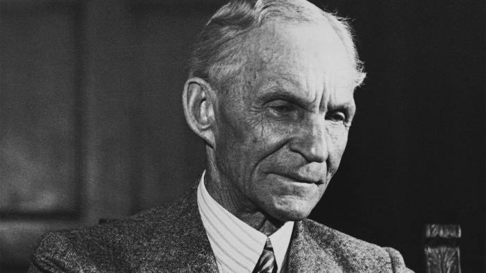 Henry Ford (1863-1947), American industrialist known for his revolutionary assembly-line process for factory production and the Model-T automobile