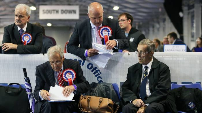 DUP party supporters at the count centre as ounting for the General Election gets under way at the Eikon Exhibition Centre in Lisburn. PRESS ASSOCIATION Photo. Picture date: Thursday June 8, 2017. See PA story ELECTION Main. Photo credit should read: Brian Lawless/PA Wire