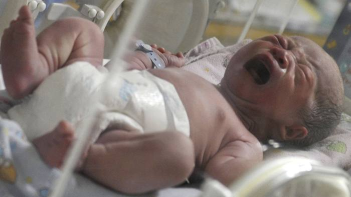 A newborn baby, one of 12 babies born by C-section, cries inside an incubator