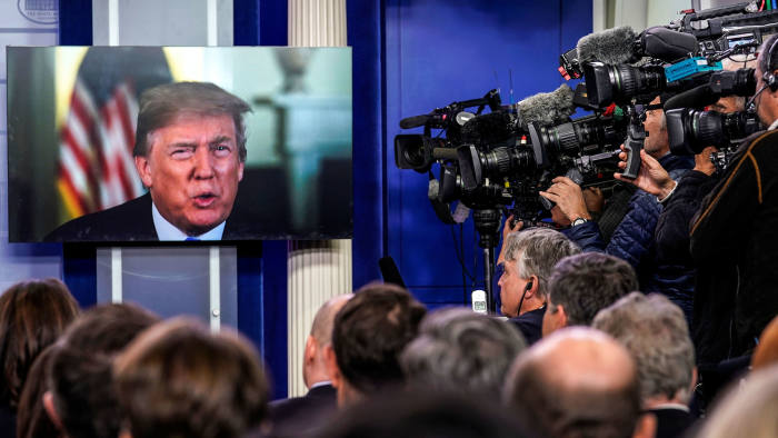 U.S. President Donald Trump is seen as he delivers a message during the daily briefing hosted by U.S. White House Press Secretary Sarah Huckabee Sanders (not pictured) at the White House in Washington, DC, U.S. January 4, 2018. REUTERS/Carlos Barria - RC1C37EFD8B0