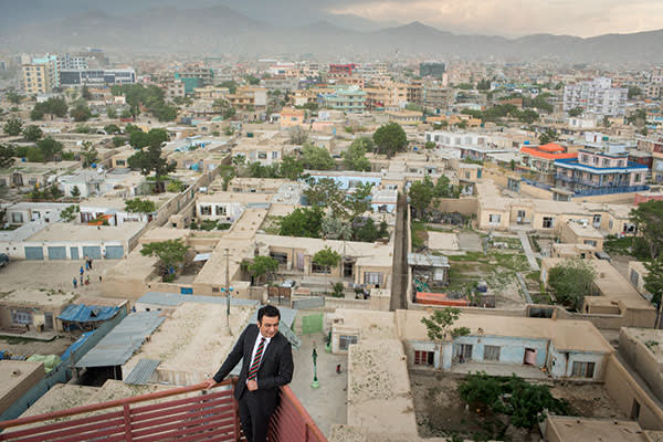 Sayed Khalid, a co-founder of Kardan University, on its roof in Kabul