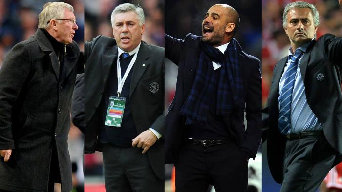 Alex Ferguson, Carlos Ancelotti, Pep Guardiola, Jose Mounrinho