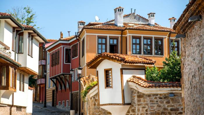Old city street view with colorful buildings in Plovdiv, Bulgaria.