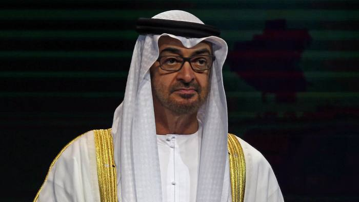 Crown Prince of Abu Dhabi, Sheikh Mohamed bin Zayed al-Nahyan speaks during the 10th edition of the World Future Energy Summit on January 16, 2017 in the United Arab Emirates capital Abu Dhabi. / AFP / NEZAR BALOUT (Photo credit should read NEZAR BALOUT/AFP/Getty Images)