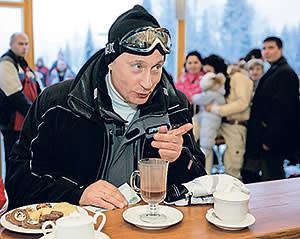 Vladimir Putin enjoys hot chocolate in Krasnaya Polyana