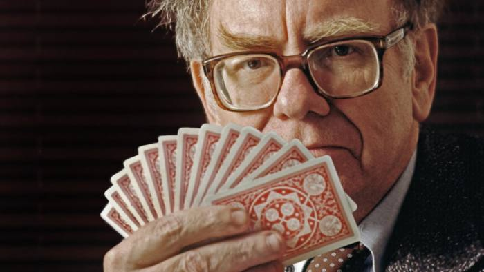 Warren Buffett, called the Oracle of Omaha, is considered the worlds greatest stock market investor and is of the world's richest people. He is a top level bridge player. --- Image by © Louie Psihoyos/Corbis