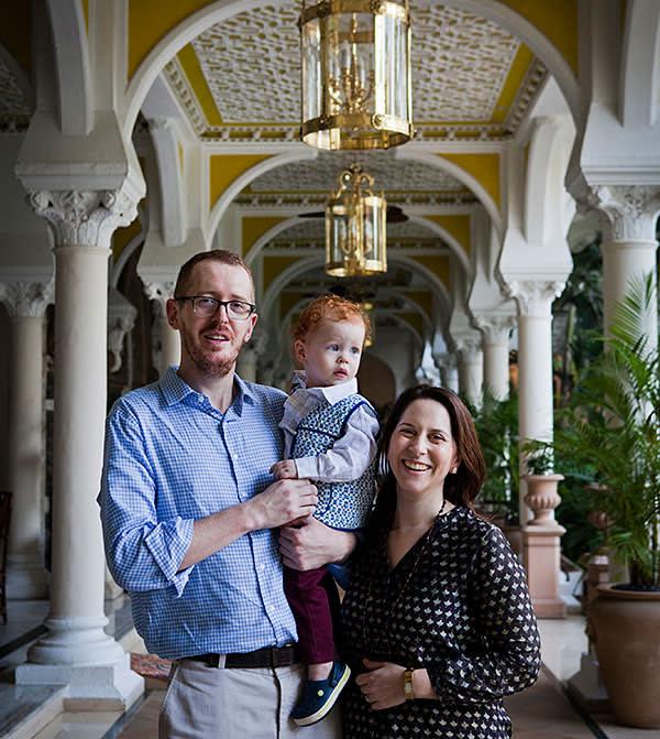 Mumbai, India- 12 March 2016: James, Mary and Alexander at the Taj Hotel.